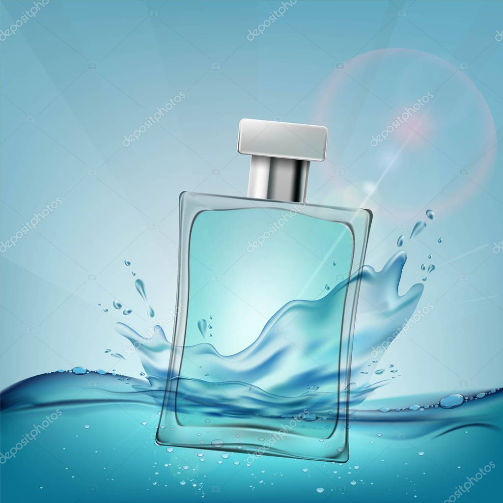 Glass container with a male perfume. Cosmetic ads template. Stoc