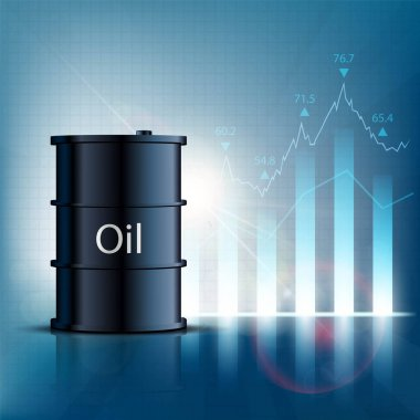 Barrel of oil with financial graphs and charts. Stock vector ill