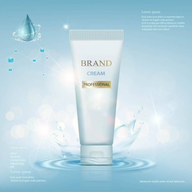 Container with cream on a background of water with a splash.