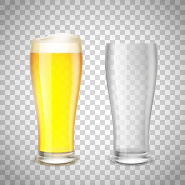 Glasses empty and with beer