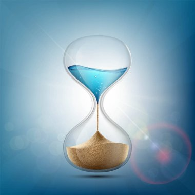 Water in hourglass becomes a sand