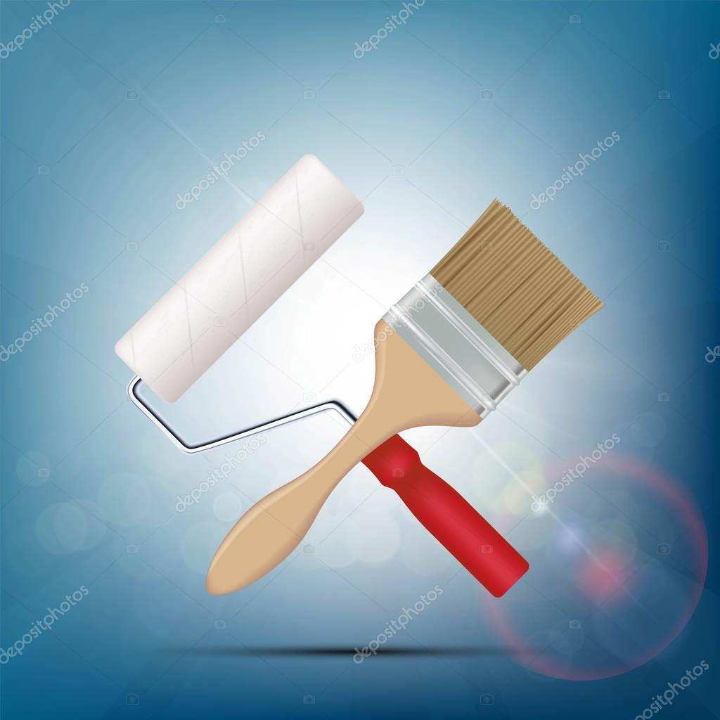 Paint brush and roller.