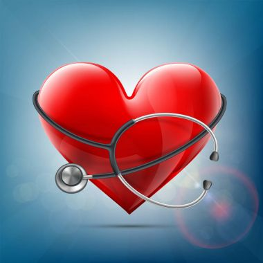 Medical equipment stethoscope around a red human heart.