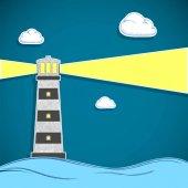 Budova lighthouse s spotlight v moři