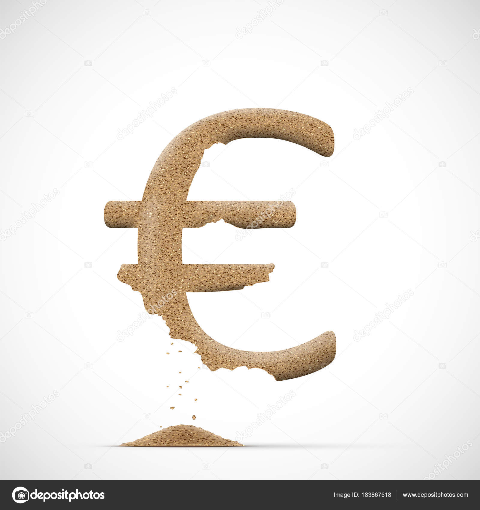 Vector Illustration Design Euro Currency Symbol Consists Sand