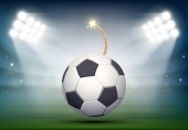 Soccer ball with bomb wick on grass field of stadium, vector illustration.
