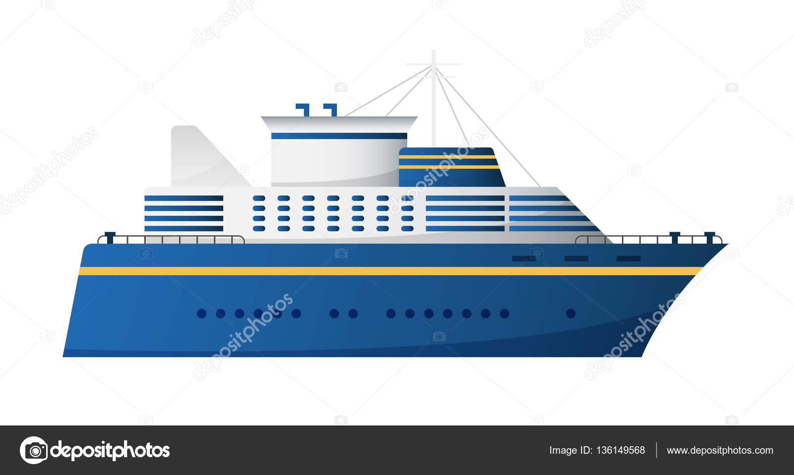 Vector Seaway And Ocean Water Transport Passenger Ship Transatlantic Cruise Liner Trendy Flat Design Side View By MarySan