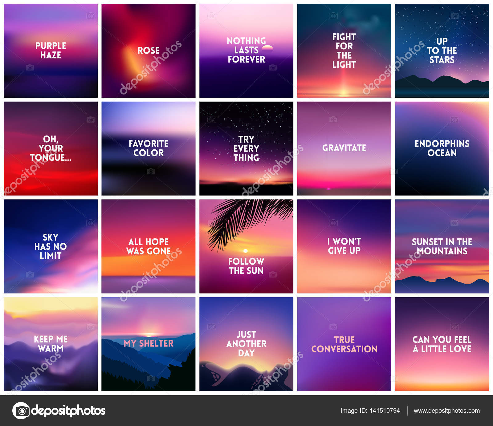 Nature Images With Quotes Download: BIG Set Of 20 Square Blurred Nature Purple Pink