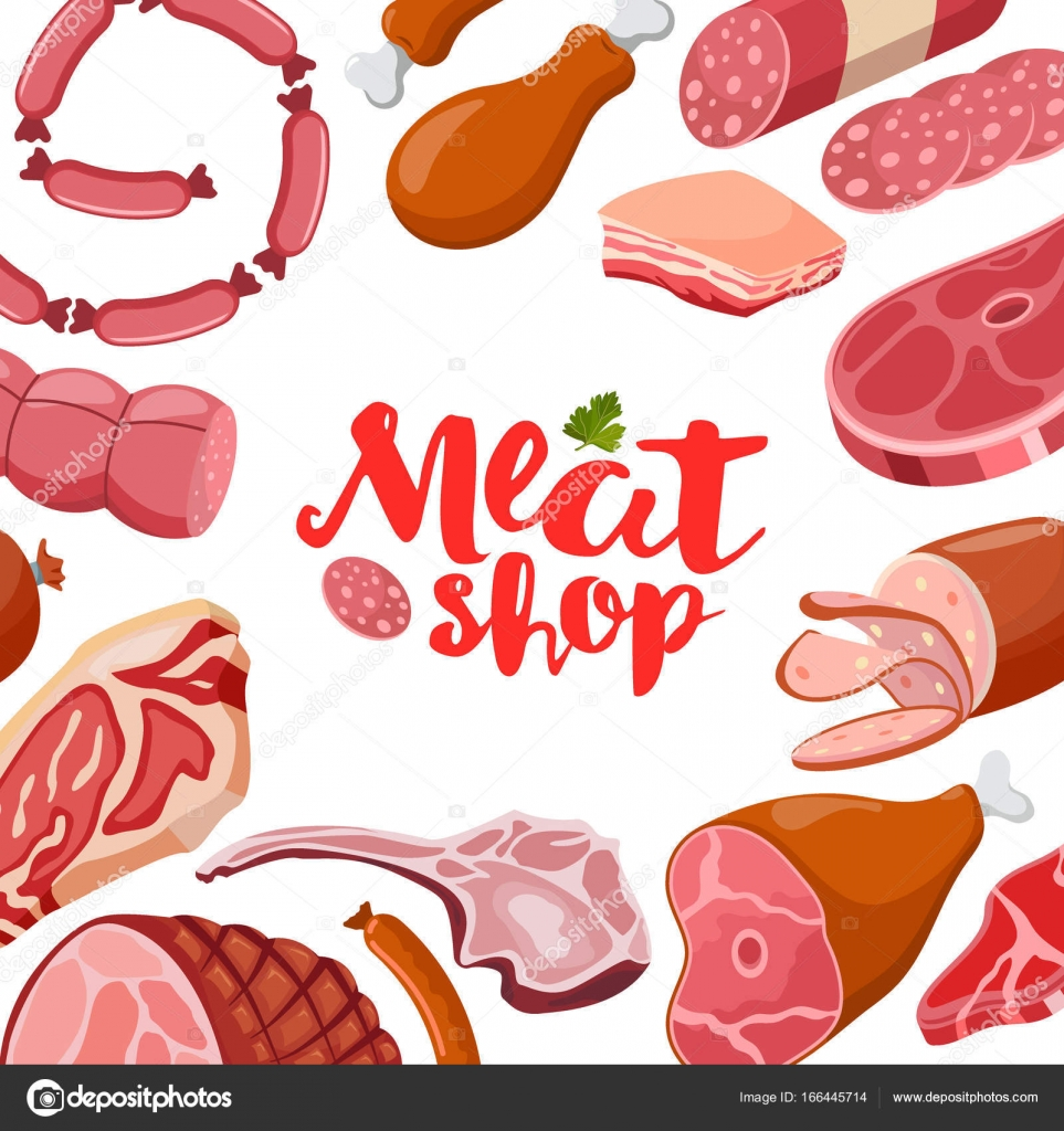 Marco de vector de carne con logo. Icono de carne fresca — Archivo ...