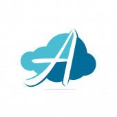Initial letter A cloud logo design. A letter Cloud concept logo.