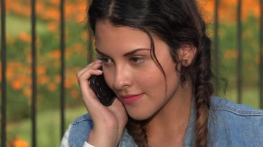 Confused Angry Teen Girl On Cell Phone Stock Video