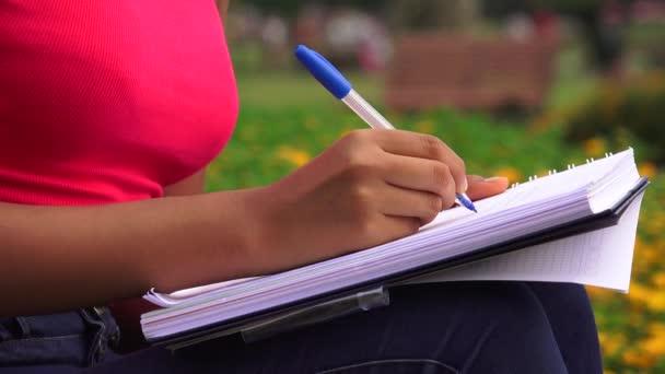 Női tini írás a lapban, vagy notebookon