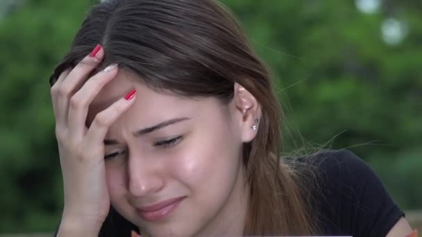 Tearful Pretty Female Teen Girl Crying– stock footage