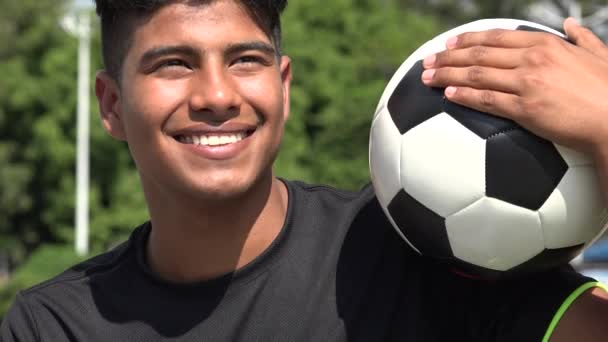 Happy Athletic Teen Male Soccer Player