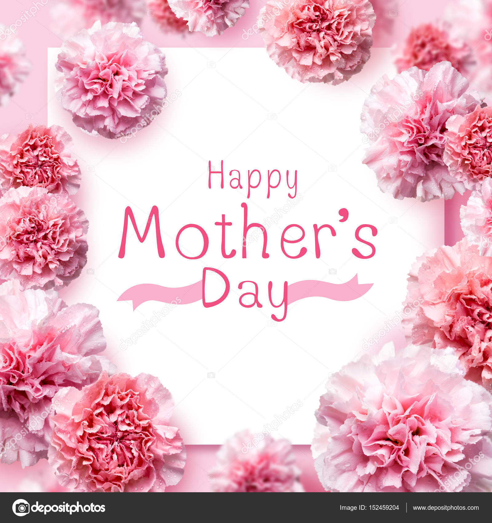 Happy Mothers Day Message On Pink Carnation Flowers Background