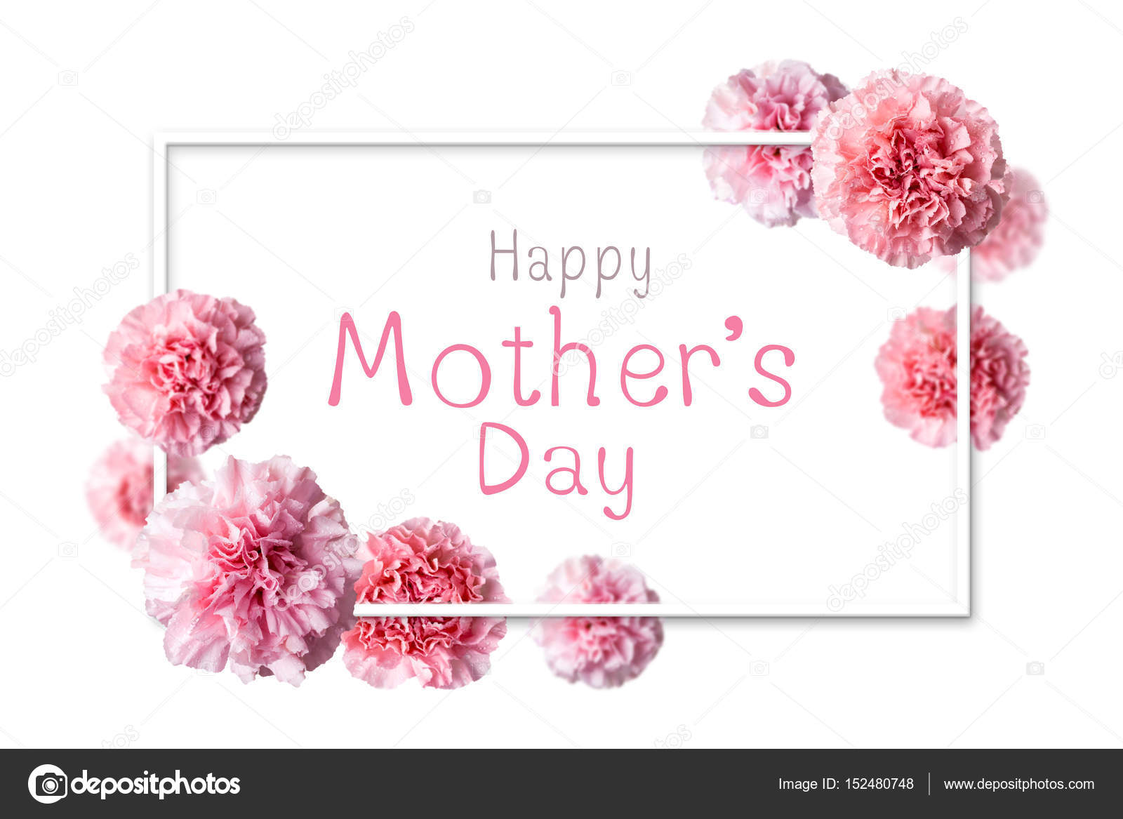 Happy Mothers Day Message In White Frame With Pink Carnation