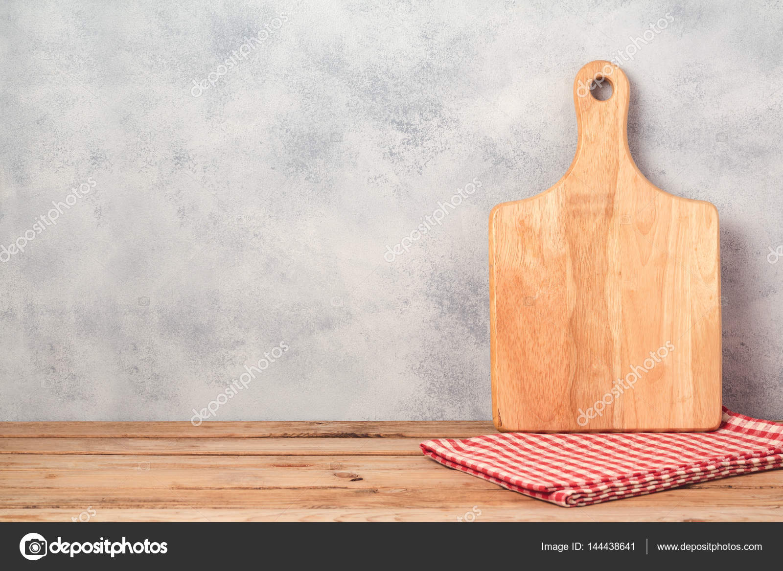 Kitchen Background With Cutting Board Stock Photo