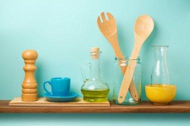 Kitchen shelf with utensils