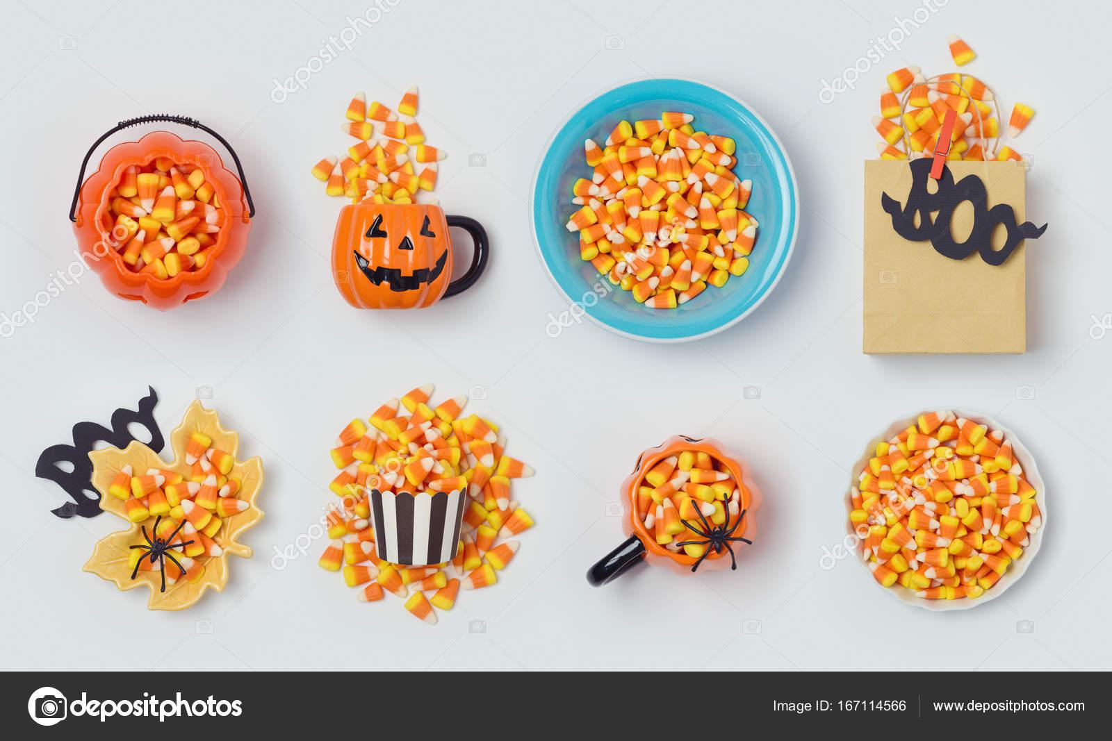 Colección de maíz de caramelo de Halloween navideña — Foto de ...