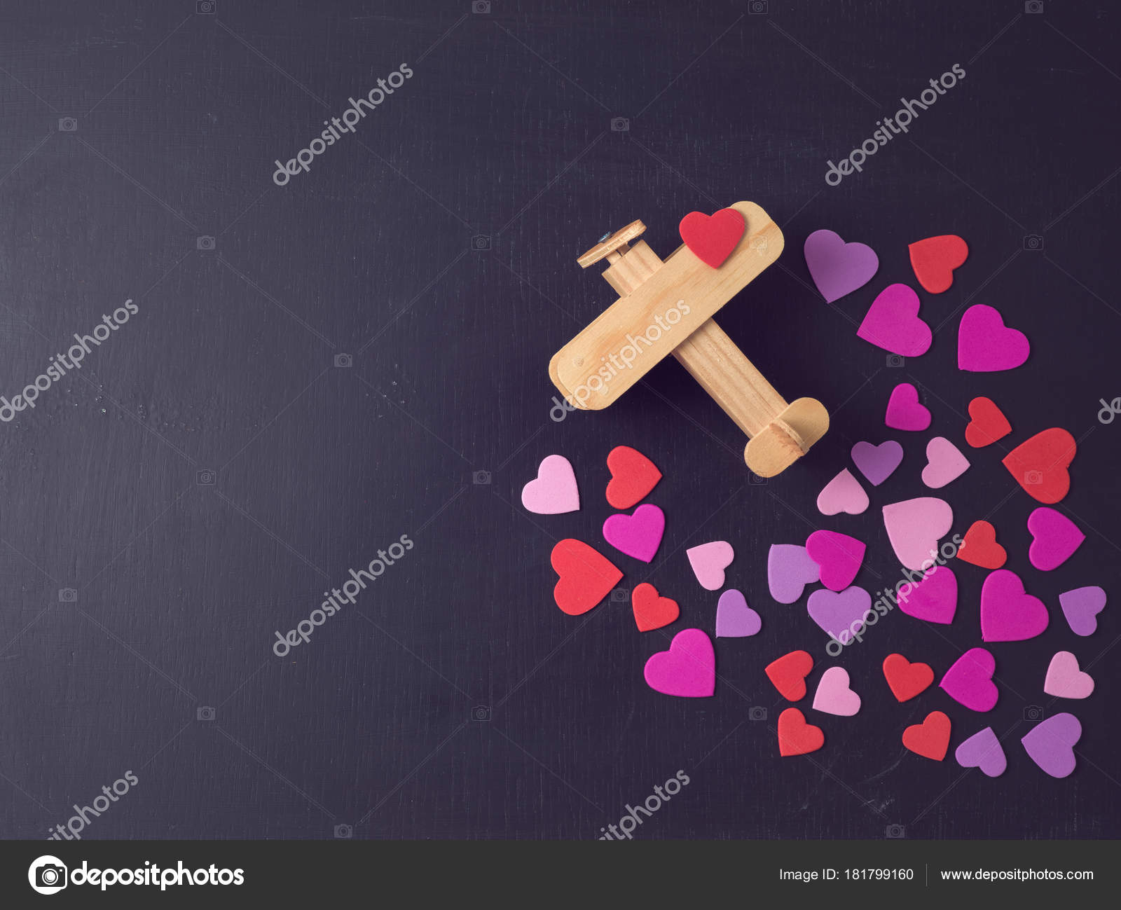 Valentines Day Concept Heart Shapes Airplane Toy Chalkboard