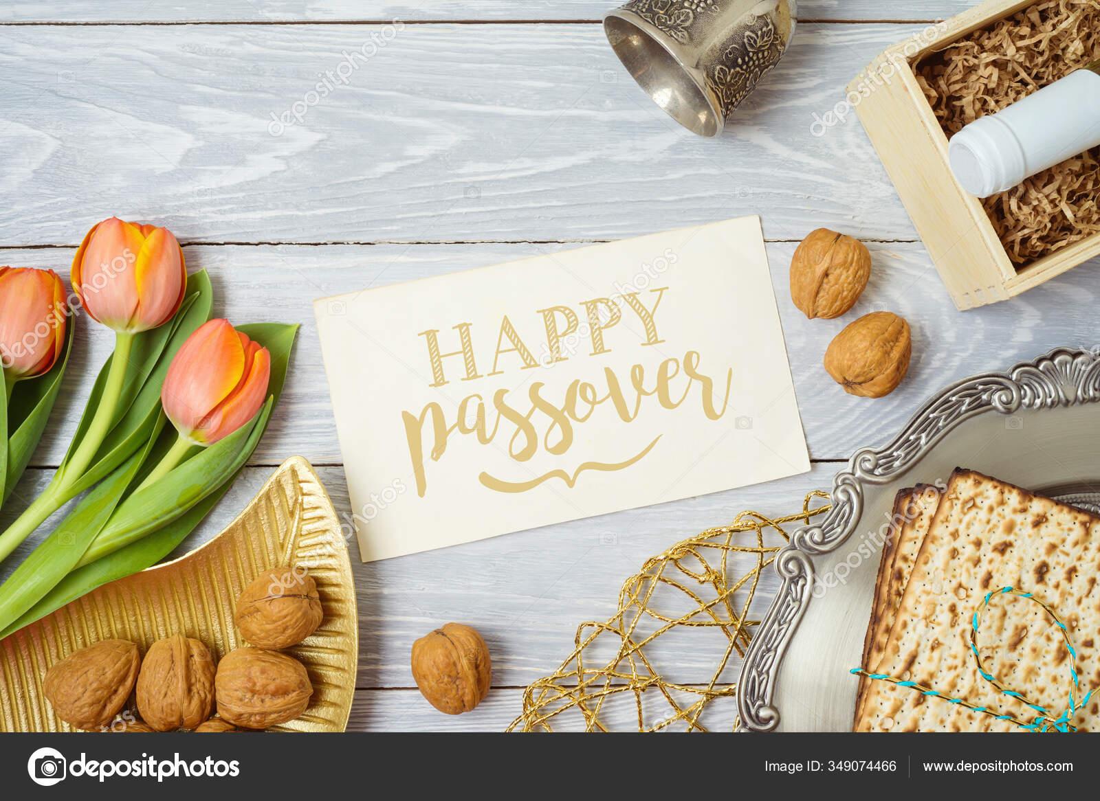 Jewish Holiday Passover Greeting Card Matzo Seder Plate Wine Tulip Stock Photo Maglara 349074466