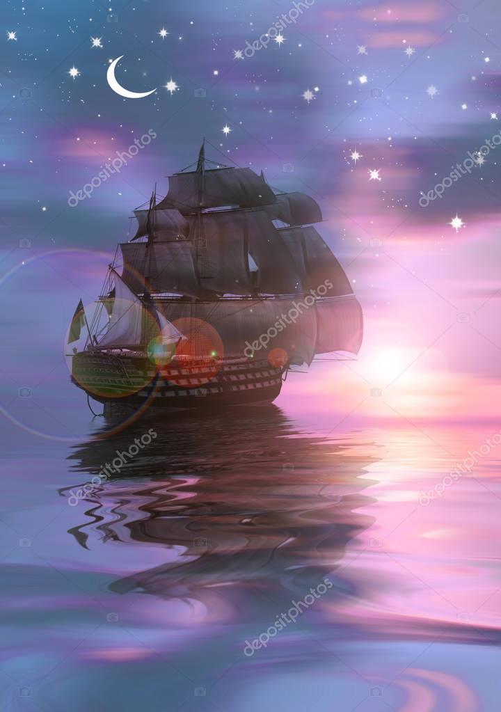 Sailing ship sailing