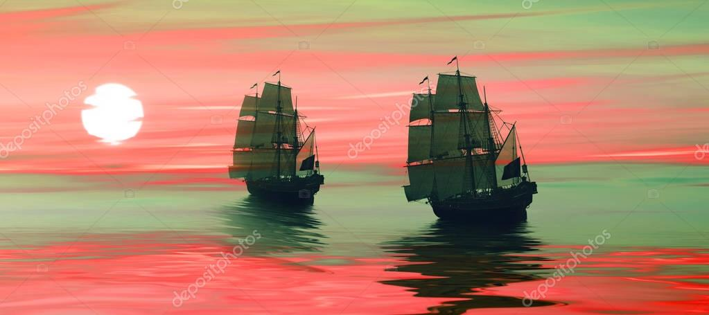 Sailboats against sunset landscape