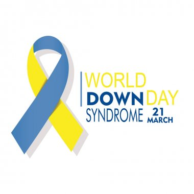 Down syndrome day poster on white background, text in blue and y