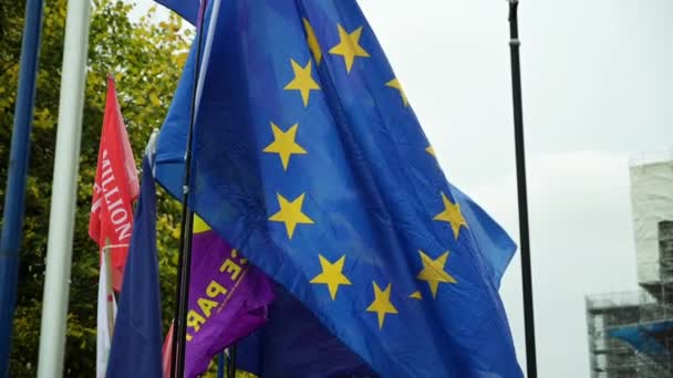 LONDON - OCTOBER 23, 2019: EU flags and UKIP flag blowing in the wind in slow motion at Brexit demonstrations outside The Houses of Parliament