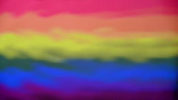 Gay Pride Flag odraz s několika kapkami vody na pravém okraji a výslednými vlnami. Abstraktní koncept pozadí
