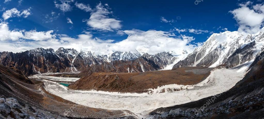 Beautiful panoramic landscapes of Himalaya mountains along Manas