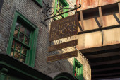 Orlando, Florida. March 02, 2020. Books sign in The Wizarding World of Harry Potter Diagon Alley at Universal Studios (43).