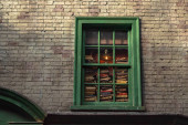Orlando, Florida. March 02, 2020. Window with books in The Wizarding World of Harry Potter Diagon Alley at Universal Studios (45).