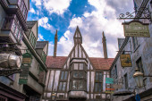 Orlando, Florida. March 02, 2020. Top view of The Wizarding World of Harry Potter Diagon Alley at Universal Studios (36)