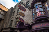 Orlando, Florida. March 02, 2020. Top view of The Wizarding World of Harry Potter Diagon Alley at Universal Studios (37).