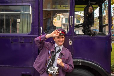 Orlando, Florida. March 02, 2020, Driver of Knight Bus in The Wizarding World of Harry Potter Diagon Alley at Universal Studios.