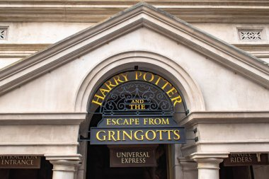 Orlando, Florida. March 02, 2020. Harry Potter and The Escape from Gringotts sign at Universal Studios (40)