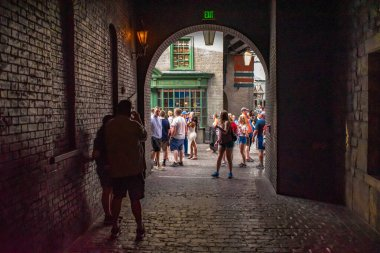 Orlando, Florida. March 02, 2020. Partial view of The Wizarding World of Harry Potter Diagon Alley at Universal Studios (44)