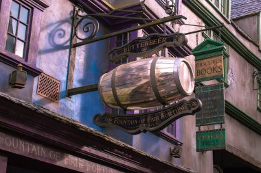 Orlando, Florida. March 02, 2020. The Fountain of Fair Fortune  Butterbeer  in The Wizarding World of Harry Potter Diagon Alley at Universal Studios