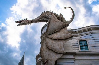 Orlando, Florida. March 02, 2020. The Gringotts Dragon in The Wizarding World of Harry Potter Diagon Alley at Universal Studios (2)