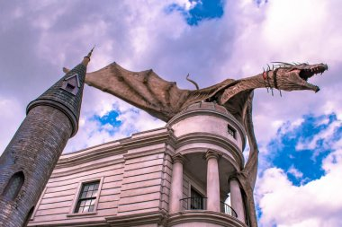 Orlando, Florida. March 02, 2020. The Gringotts Dragon in The Wizarding World of Harry Potter Diagon Alley at Universal Studios (3).