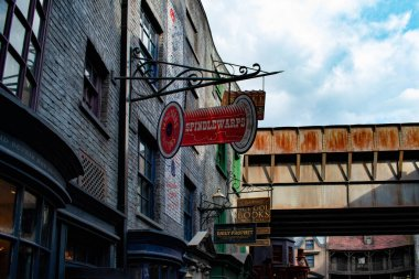 Orlando, Florida. March 02, 2020. Top view of signs in The Wizarding World of Harry Potter Diagon Alley at Universal Studios (41).