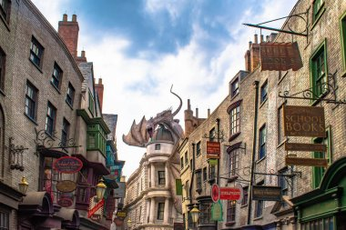 Orlando, Florida. March 02, 2020. Top view of The Gringotts Dragon in The Wizarding World of Harry Potter Diagon Alley at Universal Studios (46)