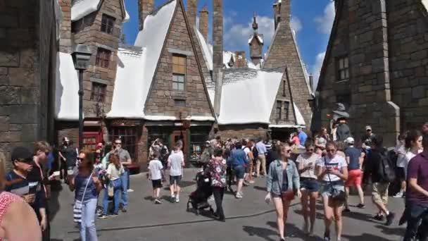Orlando, Florida, March 06, 2020. People walking in The Wizarding World of Harry Potter Hogsmeade at Island of Adventure