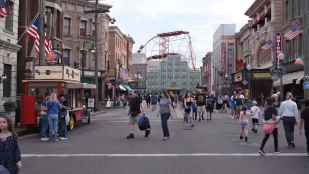 Orlando, Florida, March 06, 2020. People walking in New York area at Universal Studios