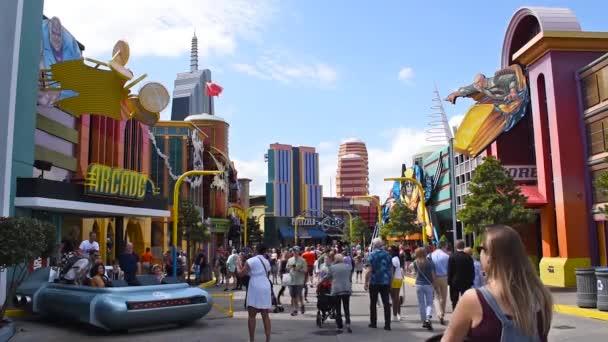 Orlando, Florida, March 06, 2020. People walking in Marvel Super Hero Island area at Island of Adventure.