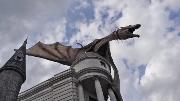 Orlando, Florida. March 06, 2020. The Gringotts Dragon throwing fire in The Wizarding World of Harry Potter Diagon Alley at Universal Studios.