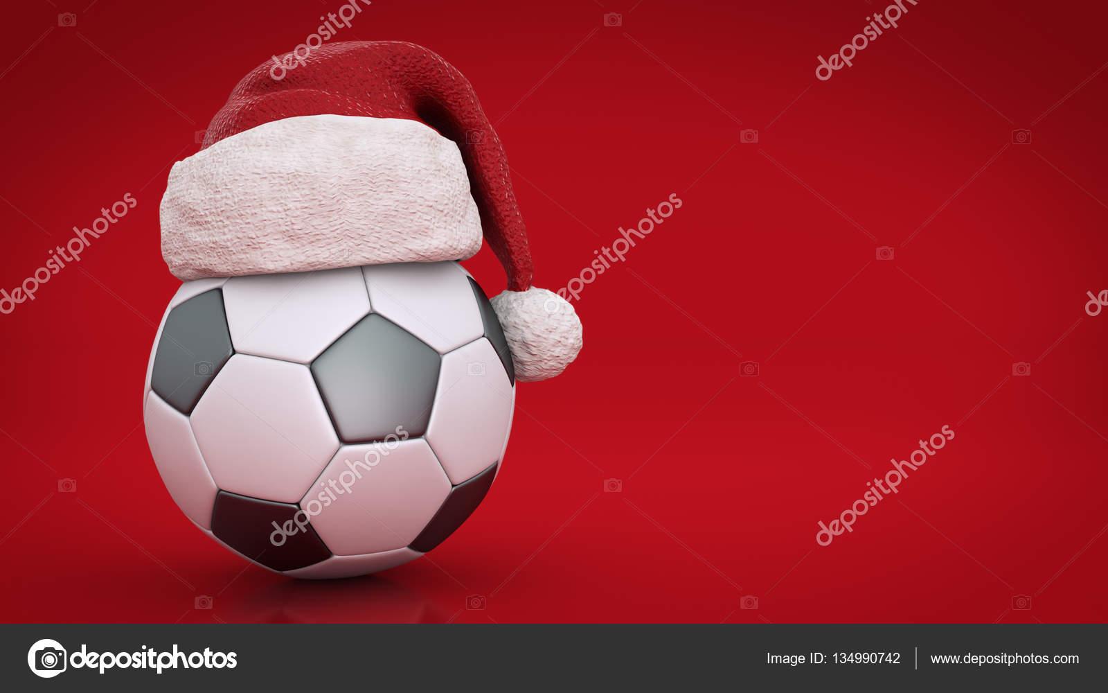 Weihnachten Konzept Fussball 3d Rendering Stockfoto