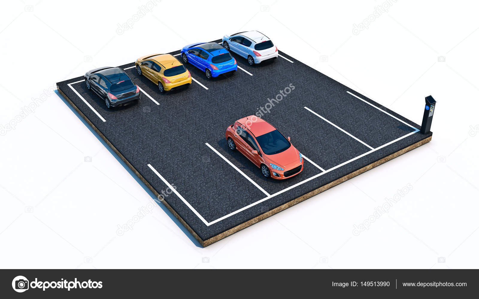cars in parking lot  3d rendering — Stock Photo © lchumpitaz