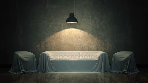 kožená pohovka v temné místnosti